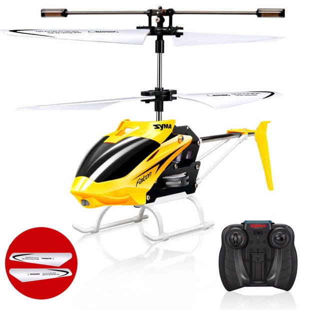 Syma Official W25 RC Helicopter 2 CH 2 Channel Mini RC Drone With Gyro Crash Resistant RC Toys For Boy Kids Gift Red Yellow  Toffee Tops Gear