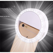 LED lit - XIXI Makeup Mirror - Fits various mobile phones - 36 x LED light beads - WHITE | BLACK | PINK | GREEN  Toffee Tops Gear