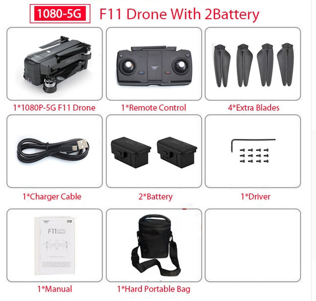 SJRC F11 GPS Drone With Wifi FPV 1080P Camera Brushless Quadcopter 25 minutes Flight Time Gesture Control Foldable Dron Vs SG906  Toffee Tops Gear
