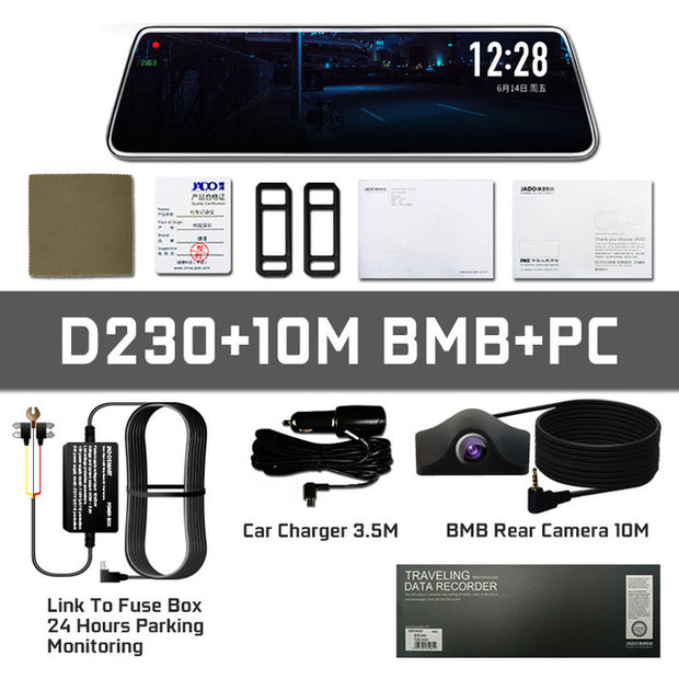 JADO D230 RearView Mirror DVR Dash Camera Touch Screen Full HD 1080P Night Vision  Toffee Tops Gear