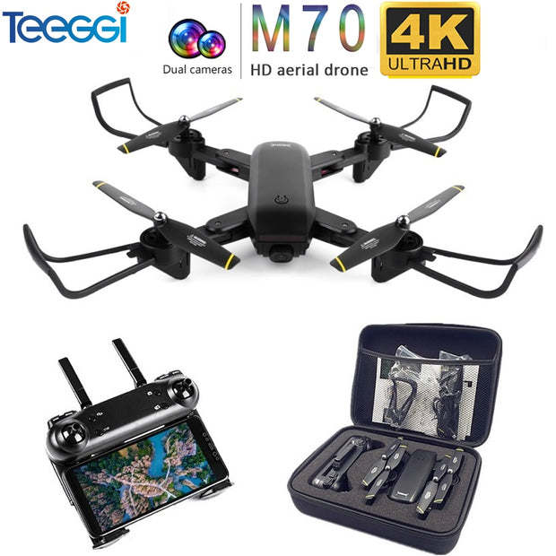 Teeggi M70 RC Drone with Camera HD 4K Camera 1080P FPV Selfie Dron Quadcopter Professional VS E58 VISUO XS809HW XS809S Drones  Toffee Tops Gear