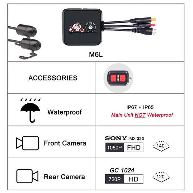 SYS VSYS M6L P6L WiFi waterproof Motorcycle DashCam Full HD 1080P+720P Front/Rear View Black Box Recorder  Toffee Tops Gear
