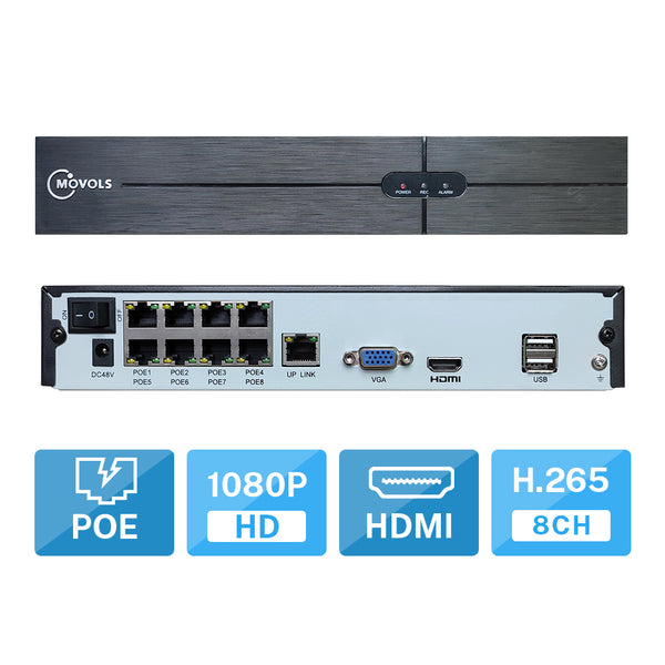 8CH 1080P POE H.265 NVR For 2.0MP (1080P) IPC Network Camera