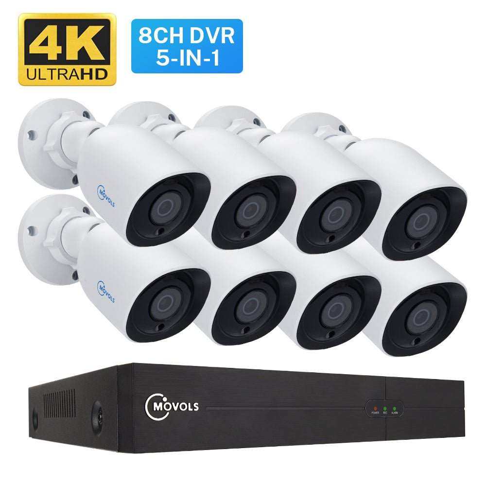 4K Ultra HD CCTV Camera System with 8CH H.265 XVR with 4/8 pcs Camera
