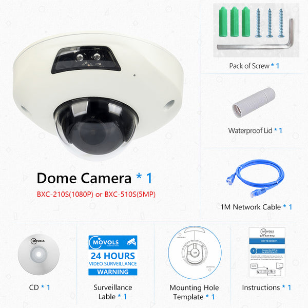 2.0 MP (1080P)/5.0 MP PoE Network IPC Wide-angle Dome Camera