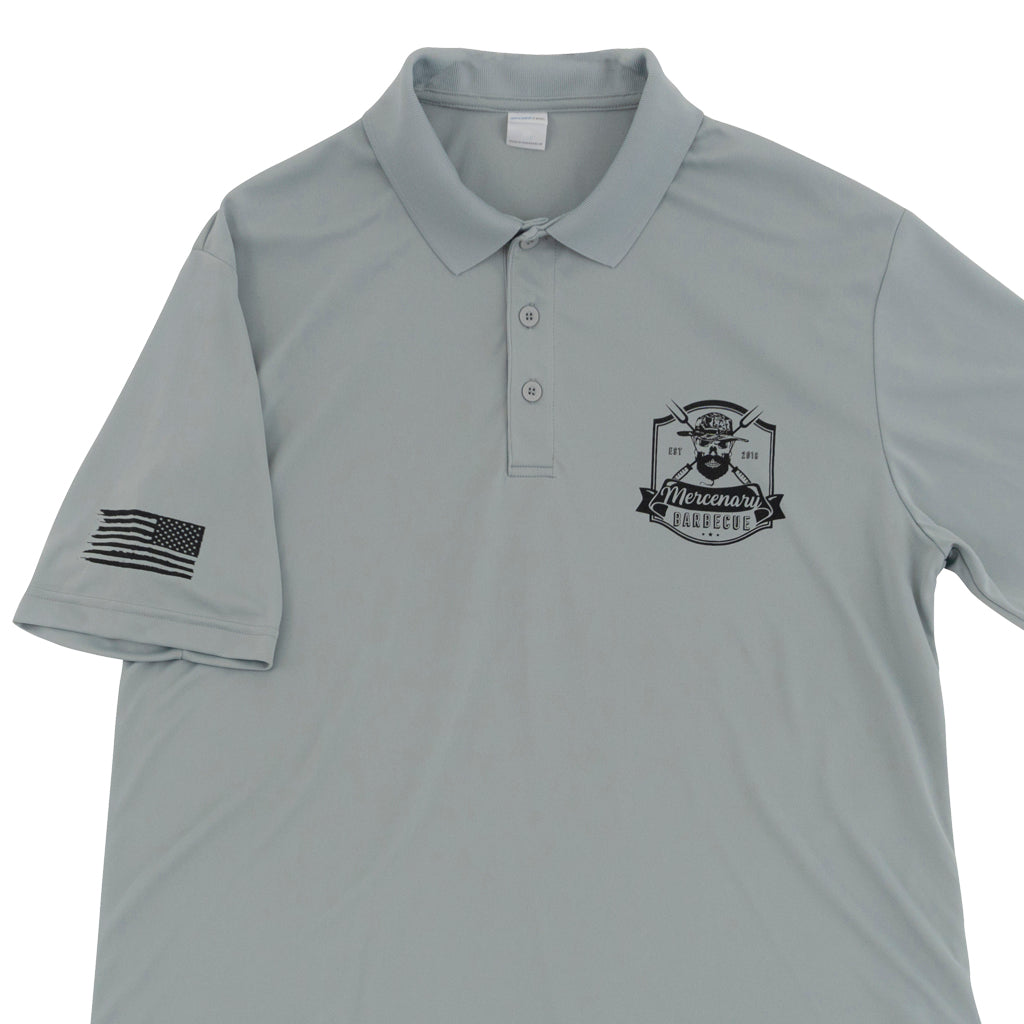 competiton polo, polo shirt, mercenary bbq competition polo