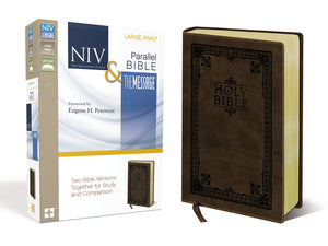 NIV, The Message, Parallel Bible, Large Print, Leathersoft, Brown: Two Bible Versions Together for Study and Comparison