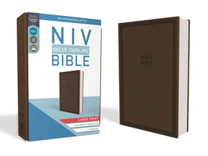 NIV, Value Thinline Bible, Large Print, Leathersoft, Brown, Comfort Print