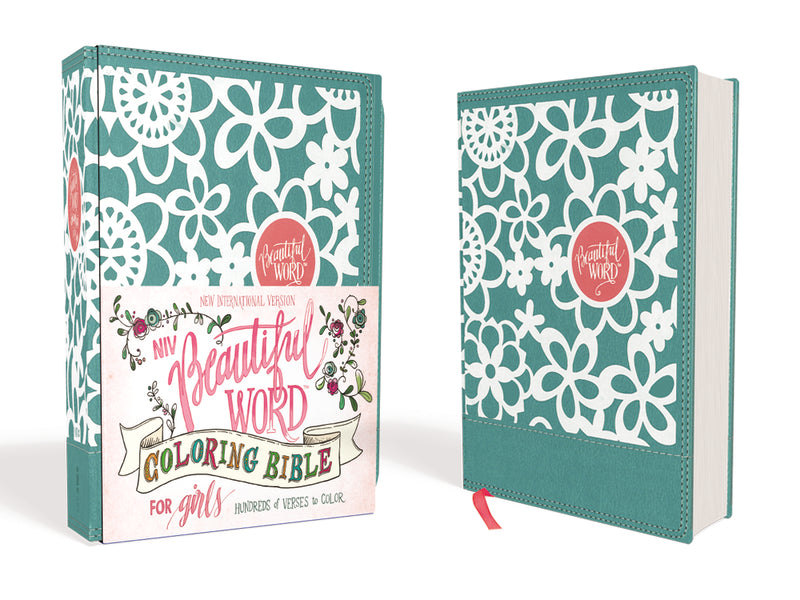 NIV, Beautiful Word Coloring Bible for Girls, Leathersoft over Board, Teal: Hundreds of Verses to Color