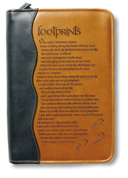 Italian Duo-Tone Footprints Med Book and Bible Cover by Margaret Fishback Powers