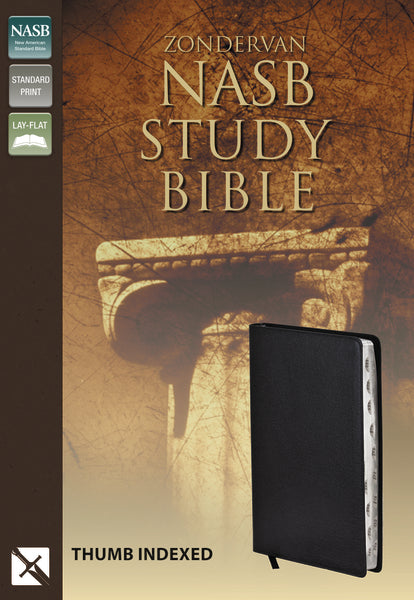 NASB, Zondervan NASB Study Bible, Bonded Leather, Black, Thumb Indexed