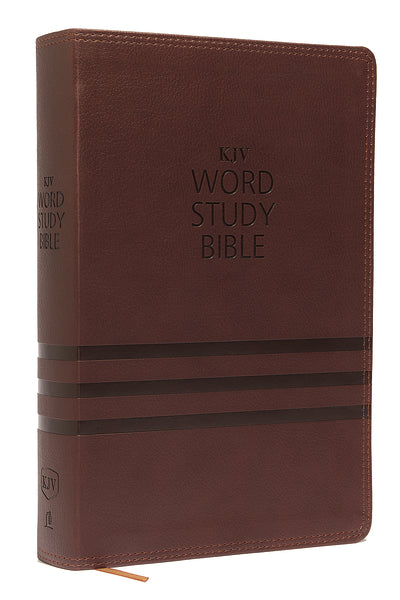 KJV, Word Study Bible, Leathersoft, Brown, Thumb Indexed, Red Letter Edition: 1,700 Key Words that Unlock the Meaning of the Bible