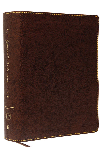 KJV, Journal the Word Bible, Large Print, Bonded Leather, Brown, Red Letter Edition: Reflect, Journal, or Create Art Next to Your Favorite Verses