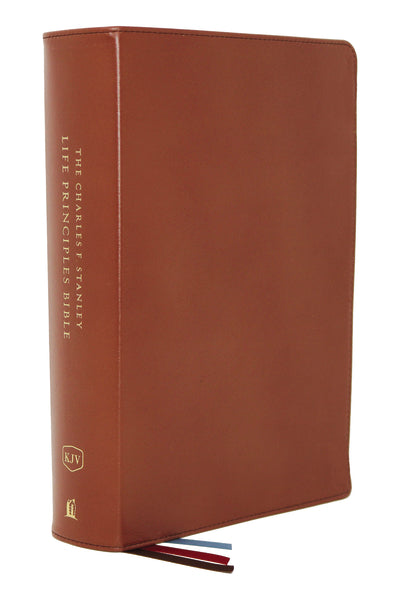 KJV, Charles F. Stanley Life Principles Bible, 2nd Edition, Genuine Leather, Brown, Comfort Print: Growing in Knowledge and Understanding of God Through His Word by Charles F. Stanley