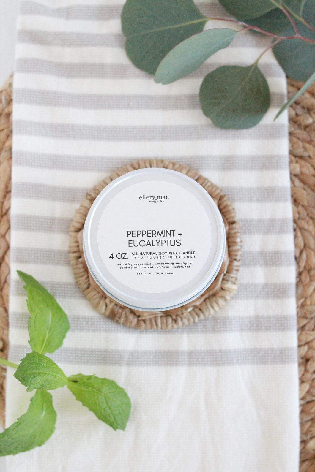 Peppermint + Eucalyptus - 4oz candle