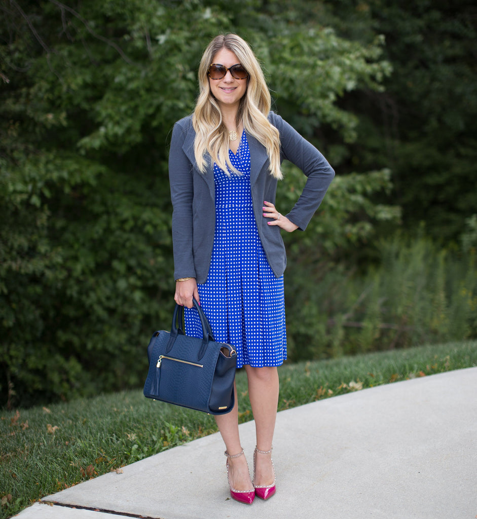 Work Week Inspiration: Polka Dot Dress and Blazer