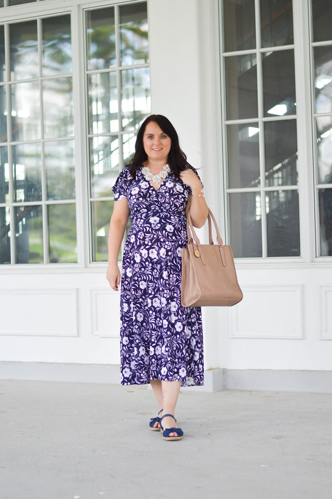 Navy and White Floral Dress for Summer