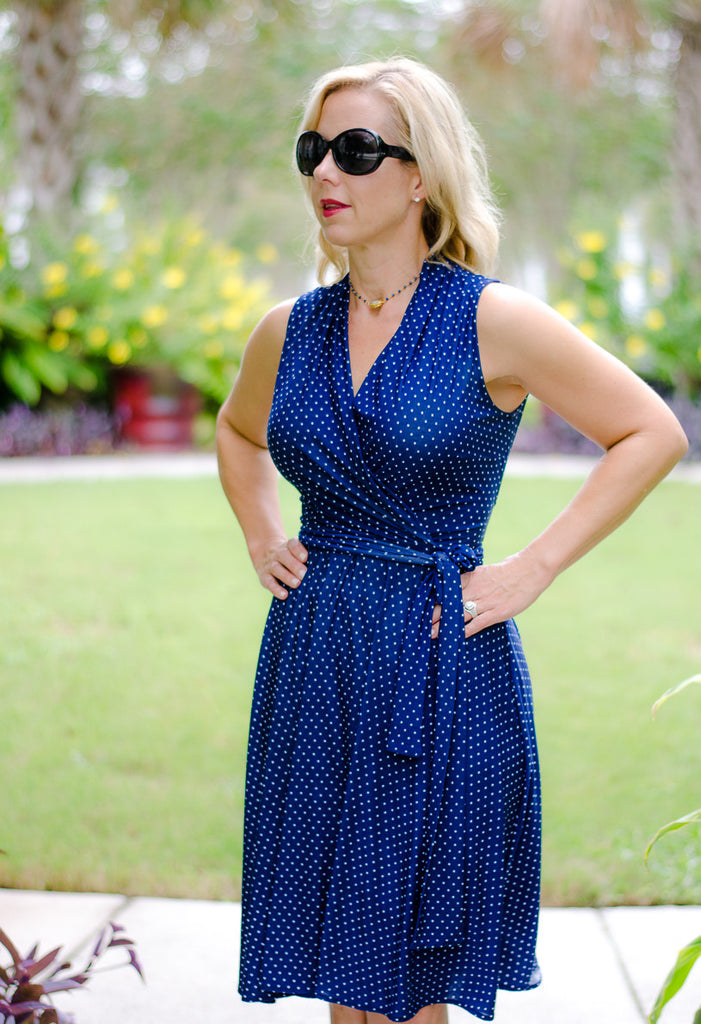 Classic Polka Dot Wrap Dress in Navy