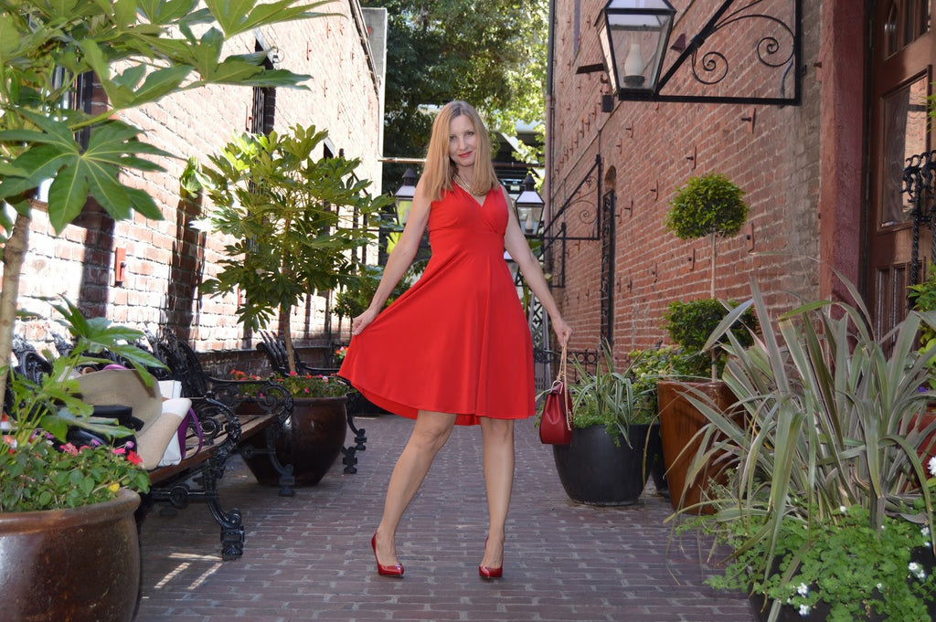 One Dress, Two Ways: Bright Red Dress for Day to Night