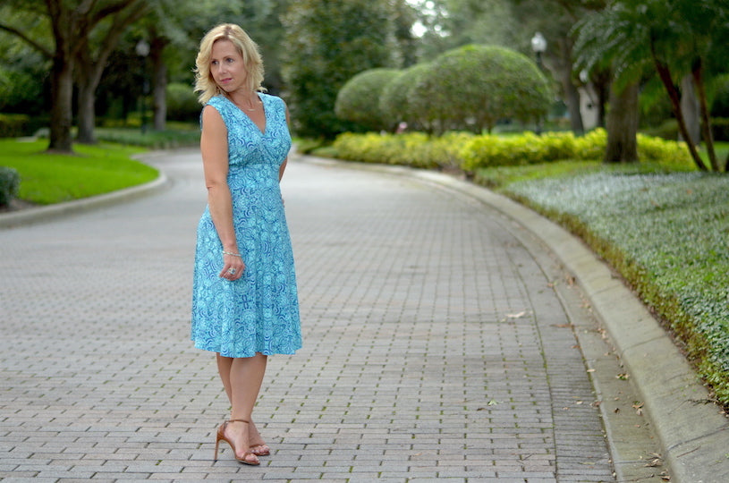 Aqua Blue Sleeveless Dress for Summer