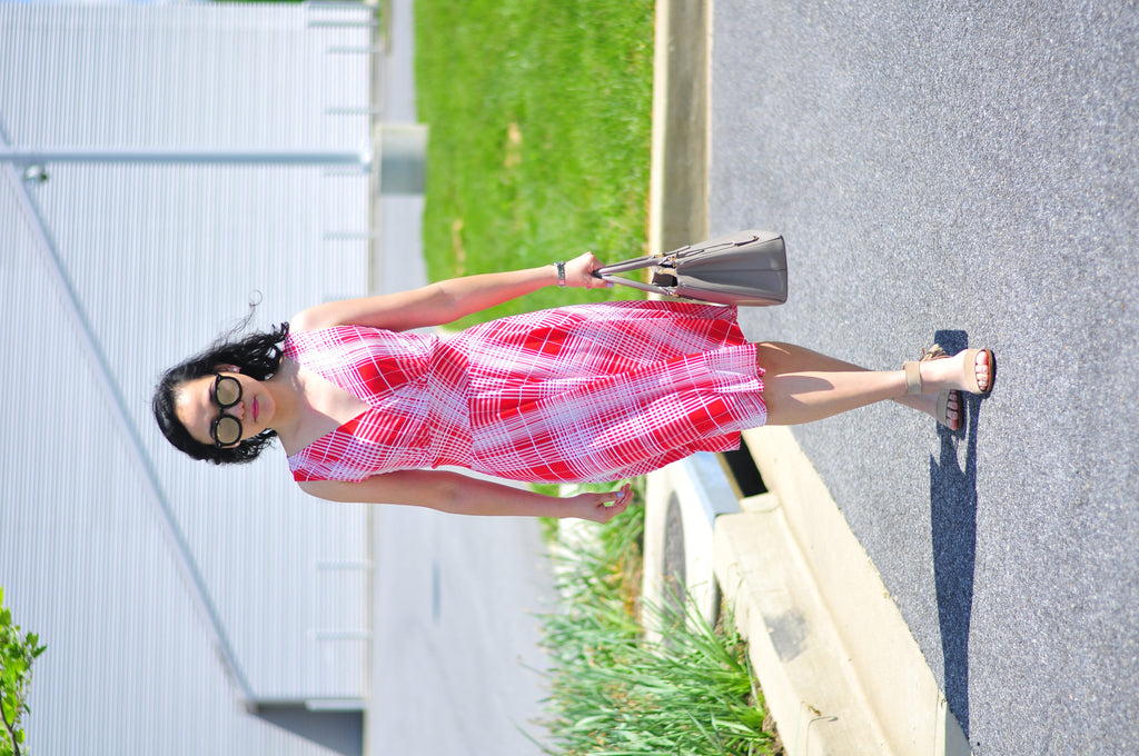 Simply Christianne in the Karina Dresses Audrey dress in Red and White Plaid