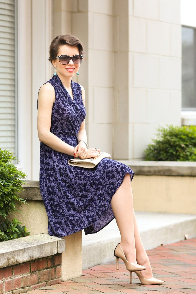 Blogger Red Reticule in the Karina Dresses Ruby Dress in Navy Lace