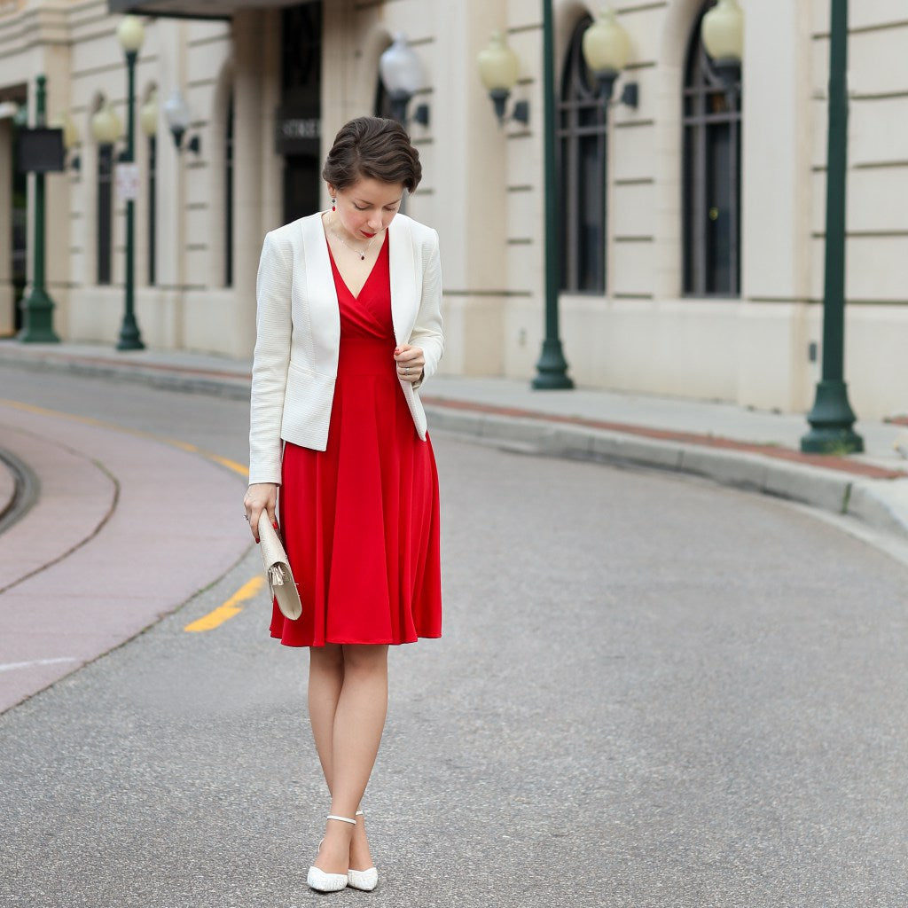 Blogger Red Reticule in the Karina Dresses Audrey dress in Scarlet