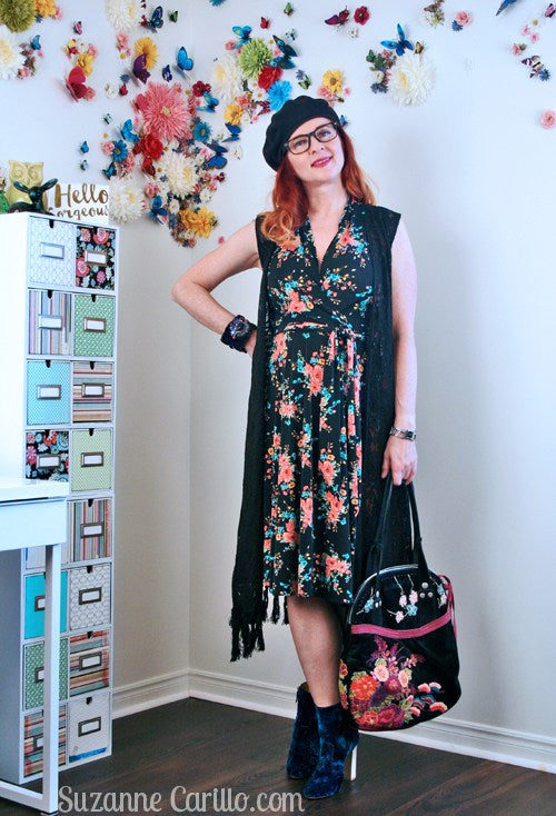 Suzanne Carillo in the Ruby dress in Black and Peach Vintage Floral