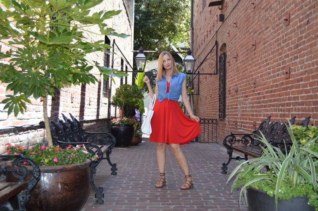 Blogger Fashion Should be Fun in the Audrey Dress in Scarlet