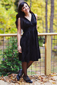 Audrey Dress in Onyx Snakeskin Velvet by Karina Dresses
