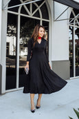 Cecelia Dress in Solid Black by Karina Dresses