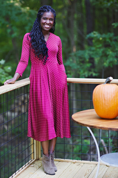 Cecelia Dress - Cranberry Cross Dot