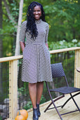 Colleen in Beige & Black Houndstooth by Karina Dresses