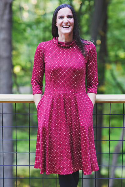 Colleen Dress - Cranberry Cross Dots