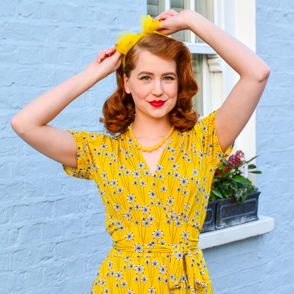 Agent Peggy Carter Costume, Dress, Hats Margaret Dress - Goldenrod $108.00 AT vintagedancer.com