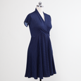 Joan Dress - Navy Pin Dot