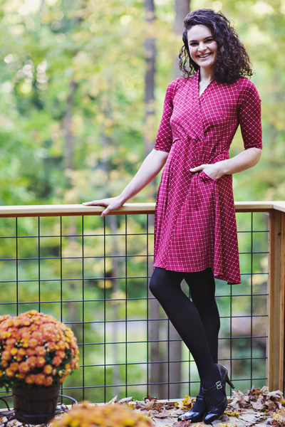 Joan Dress in Cranberry Cross Dots by Karina Dresses
