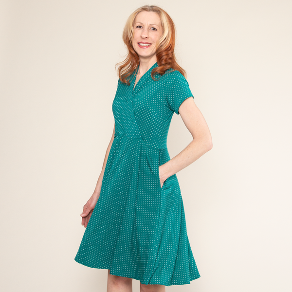 Joan Dress in Jade Dot by Karina Dresses