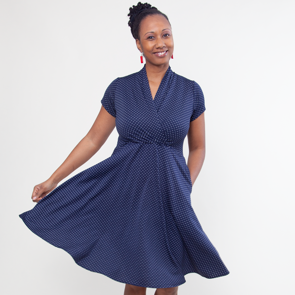 Swing Dance Clothing You Can Dance In Joan Dress - Navy with White Pin Dots $108.00 AT vintagedancer.com