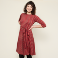 Katharine Dress in Wine Deco Squares by Karina Dresses