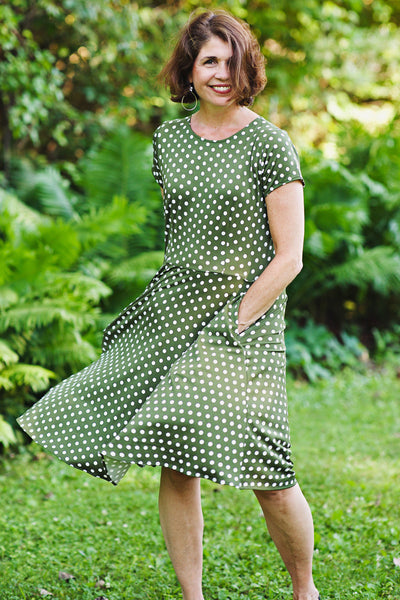 Kate Dress in Olive Polka Dots by Karina Dresses