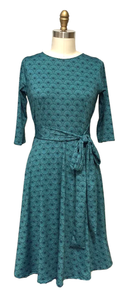 Katharine Dress in Teal Fans
