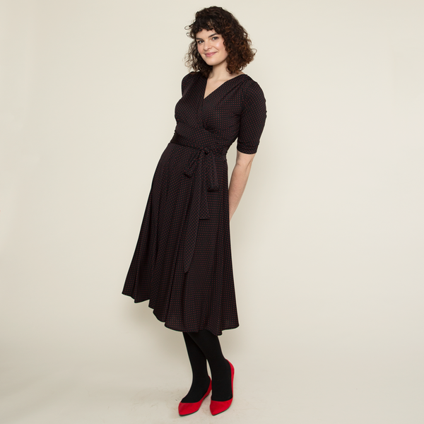 Margaret Dress in Black with Red Pin Dots by Karina Dresses