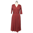 Margaret Dress in Wine Deco Squares by Karina Dresses