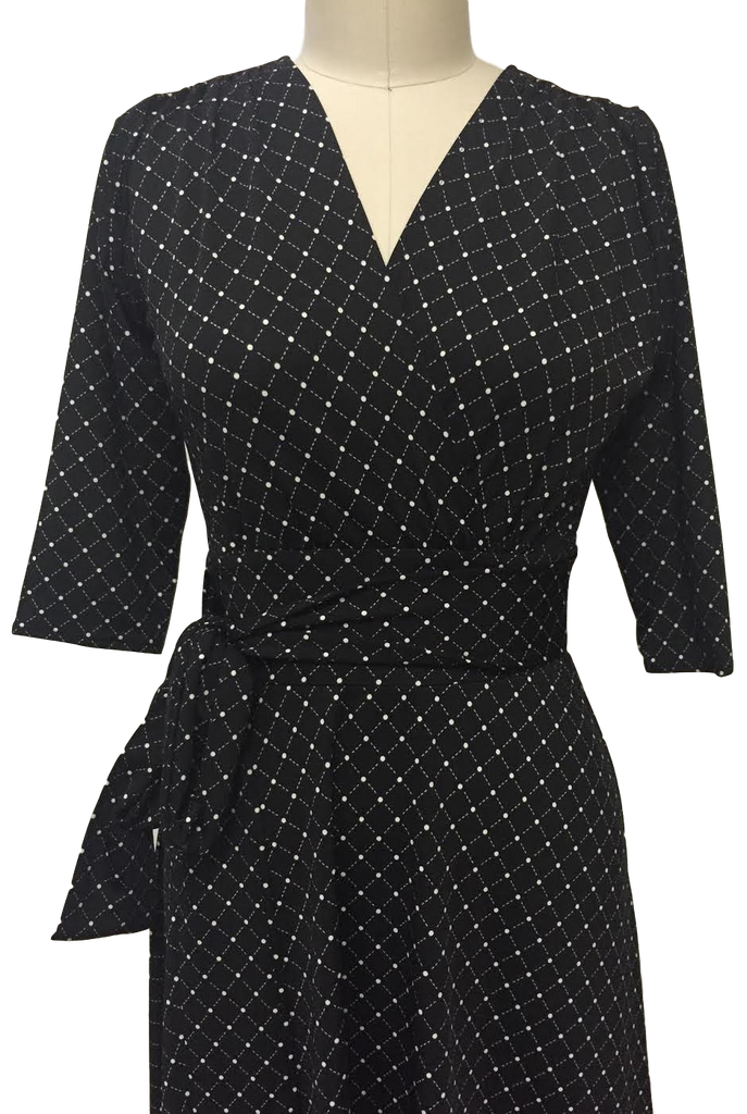 Margaret Dress - Black and White Cross Dots