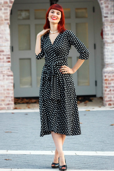 Margaret Dress in Black with White Polka Dots by Karina Dresses