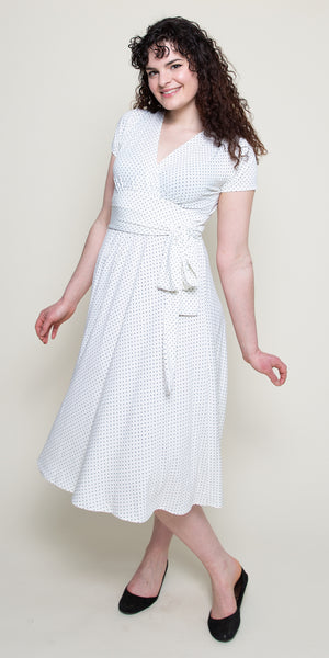 Margaret Dress in Ivory with White Pin Dots