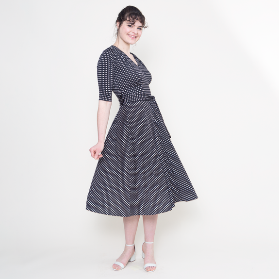 Margaret Dress in Black with White Micro Dots by Karina Dresses