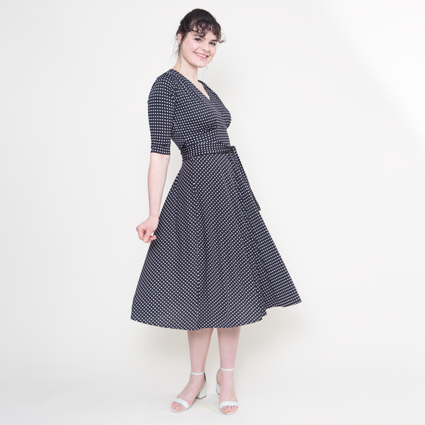 Swing Dance Clothing You Can Dance In Margaret Dress - Black with White Micro Dots $108.00 AT vintagedancer.com