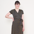 Margaret Dress in Navy with Gold Dots by Karina Dresses